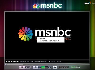 Flash vs. Silverlight MSNBC